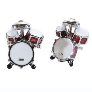 カフスボタン (Cuff Links) ミュージックギフト ドラムセットレッド 音楽モチーフ ギフトラッピング付き|musicoffice