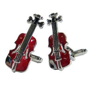 カフスボタン (Cuff Links) ミュージックギフト バイオリン ブラウン 音楽モチーフ ギフトラッピング付き|musicoffice
