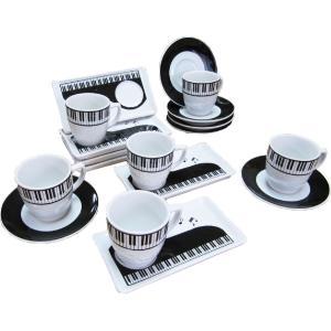 ピアノデザイン コーヒーカップ + ソーサー + 小皿(3点セット)x 6組|musicoffice