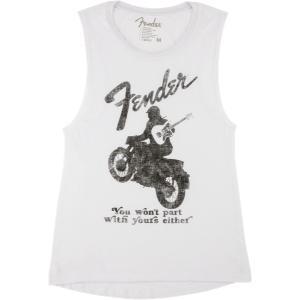 Fender Jaguar Women's Sleeveless T-Shirt, White, L|musicplant