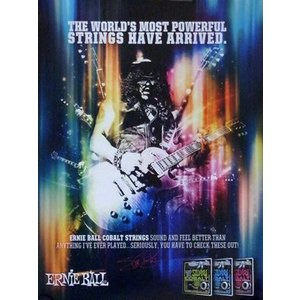 スラッシュ Slash - The World's Most Powerful Strings Have Arrived: Ernie Ball Promo Poster|musique69