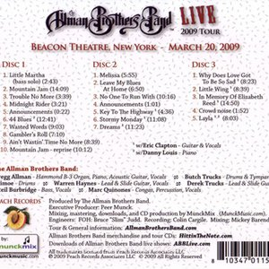 エリッククラプトン Eric Clapton (Allman Brothers Band) - Live (40th Anniversary Tour 1969-2009): Beacon Theatre, NYC 03/20/2009 Reissue (CD)|musique69|02