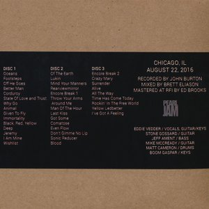パールジャム Pearl Jam - North American Tour: Chicago, IL 08/22/2016 (CD)|musique69|02