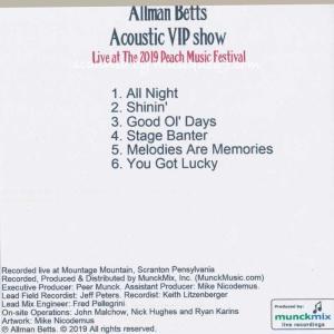 オールマンベッツバンド The Allman Betts Band - Acoustic Vip Show: Live at The 2019 Peach Music Festival (CD)|musique69|02