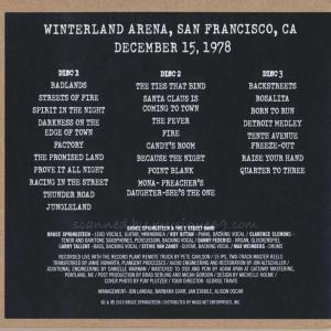 ブルーススプリングスティーン Bruce Springsteen & The E Street Band - Winterland 12/15/78 (CD)|musique69|02