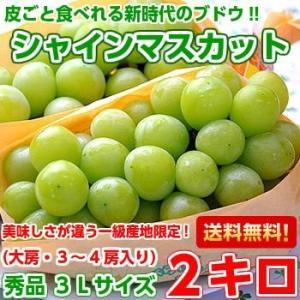 山梨・長野県産 シャインマスカット 秀品3Lサイズ以上2kg(3-4房入り)