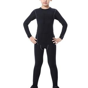 キッズ コンプレッションウェア 上下セット ボーイズ UVカット吸汗速乾 パワーストレッチ 長袖 シャツ ロングパンツ スポーツタイツ インナー ジュの商品画像|ナビ