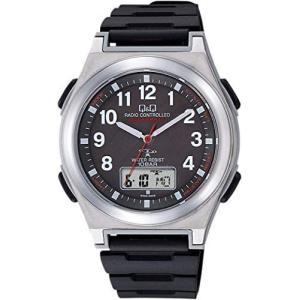 [シチズン Q&Q] 腕時計 アナログ 電波 ソーラー 防水 日付 ウレタンベルト MD12-305 メンズ ホワイト (ブラック) musubi-syop