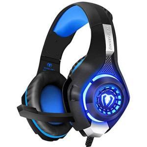 BlueFire PS4 ヘッドセット ゲーミングヘッドホン 重低音 ステレオ 3.5mm ヘッドセット イヤホン ヘッドバンド LEDライト(青) musubi-syop