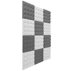 吸音材 ポリウレタン 消音 騒音 防音 吸音 楽器 ピアノ室 カーオーディオ   黒+グレー 12枚 musubi-syop