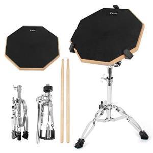 Kmise ドラム練習パッド トレーニング用 スティック付き ラバー製 ブラック 静音・高反発 12インチ (練習パッド・スタンド) musubi-syop