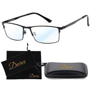 Deerce ブルーライトカット メガネ pc パソコン 眼鏡 伊達 だて ケース ポーチ 眼鏡拭き 4点セット (黒)|musubi-syop