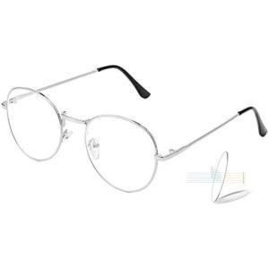 超軽量 ブルーライトカット メガネ 伊達メガネ メンズ 丸メガネ眼鏡 だてめがね メンズ レディース UV (シルバー Free Size)|musubi-syop