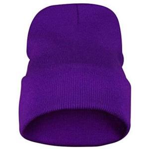 ビーニー 帽子 ニット帽 レーディス メンズ 保温 通気 ストレッチ性抜群 ニットキャップ ハット おしゃれ 冬(パープル Free Size)|musubi-syop