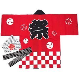 子供用はっぴ法被・腰ひも・はちまき3点セット 綿100% 市松柄 祭 衣装 [赤/選べるサイズ] (レッド 2-3歳)|musubi-syop