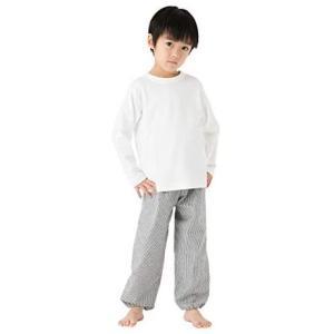 久留米織ヒッコリーストライプ調子供用もんぺ ズボン 日本製 100cm 110cm 120cm 130cm 子供服 男の子 (グレー 140)|musubi-syop