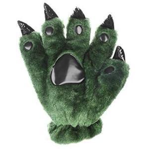可愛い手袋 恐竜グローブ 爪付き 革製 肉球 アニマル 怪獣 コスプレ手袋 ふわモコ ボア 秋冬 あったか 防寒手袋 ハロウィーン (グリーン)|musubi-syop