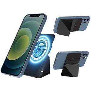 磁気増強AOOMO マグネット iPhone 12スタンド スマートホンスタンド iPhone12全シリーズ対応 ホルダー (ブラック【増強】)|musubi-syop