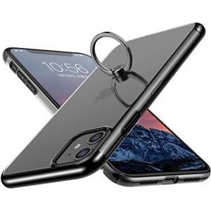 E Segoi iPhone 11 ケース リング付き スタンド機能 メッキ加工 透明 PC 落下防止 耐衝撃 (黒 iPhone 11)|musubi-syop