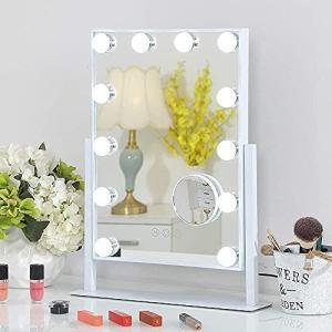 FENCHILIN 化粧鏡 女優ミラー 卓上鏡 ハリウッドミラー 三色照明モード 明るさ調節可能 12個LED電球付き 10倍拡大鏡付き(ホワイト) musubi-syop