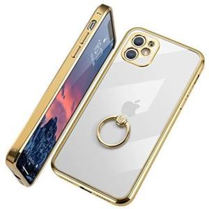 E Segoi 2020最新版 iPhone 11 ケース リング付き クリア 高級感 メッキ加工 ソフトケース(ゴールド iPhone 11)|musubi-syop