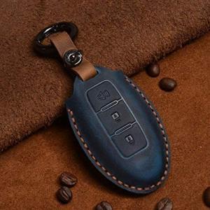(Deyou)Nissan 日産 革スマートキーケース 3ボタン ブラックレッド 質が軽い 高品質牛革 キーケース (青 3 ボタン ホーン) musubi-syop