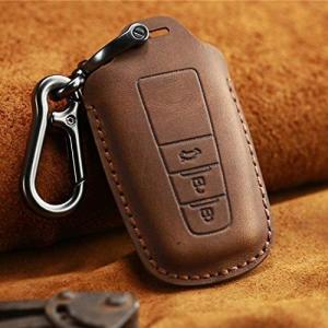 (Deyou]TOYOTA トヨタ系 革スマートキーケース 3ボタン ブラックレッド 質が軽い 高品質牛革 キーケース キーカバー (ブラウン) musubi-syop