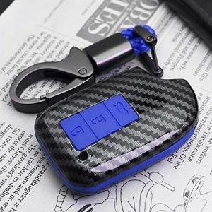 Ontto トヨタ ハイエース系 スマート キーケース キーカバー キーホルダー リモコンカバー 光沢 オシャレ 高級 シリコン 3ボタン(ブルー) musubi-syop
