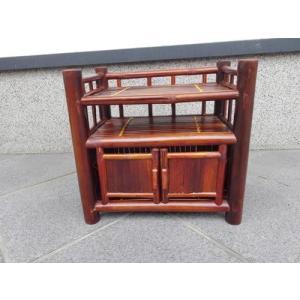 竹製 小型収納家具 観音開き2段式ラック ベトナムのバンブー|mutasan|02
