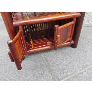 竹製 小型収納家具 観音開き2段式ラック ベトナムのバンブー|mutasan|04