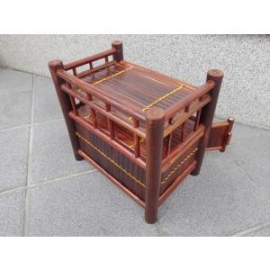 竹製 小型収納家具 観音開き2段式ラック ベトナムのバンブー|mutasan|05
