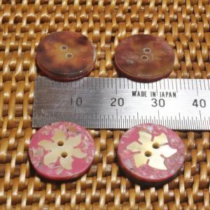 貝ボタン バリ島雑貨 丸樹脂型桃色花模様/2穴/φ15mm/t2mm 1個入|mutasan|03