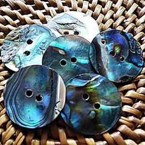 貝ボタン バリ島雑貨 丸型青縞模様/2穴/φ15mm/t1mm 1個入|mutasan