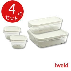 ガラス瓶 キャニスター イワキ iwaki パック&レンジ 4点セット ホワイト(プチ2個・BOXハーフ1個・BOX大1個)|mutow