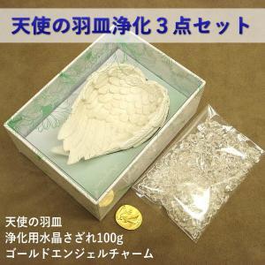 【クーポンあり】天使の羽皿浄化3点セット(天使の羽皿+浄化用水晶さざれ100g+ゴールドエンジェルチャーム)|my-earth