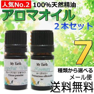 アロマオイル5ml 2本セットNo.2 100%天然精油 エッセンシャルオイル 7種類から選べる|my-earth