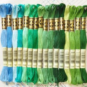 DMC社の刺繍糸 25番糸 グリーン系全17色から ゆうパケ可 《 刺繍 刺しゅう ししゅう ステッ...