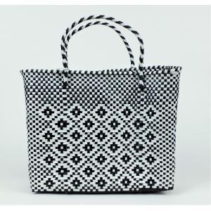 かごバッグ Letra レトラ メルカドバッグ プラスチックトートバッグ XSサイズ ホワイト×ブラック|mycloset-m