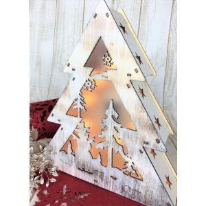 クリスマス LED ツリーライト オーナメント ウッドツリー ナチュラル 照明|mycloset-m
