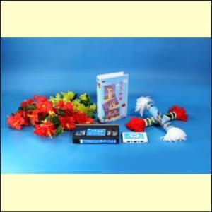 【宅配便配送】やさしいフラ体操 セット(VHS+カセットテープ+ドラムバンド+レイ)