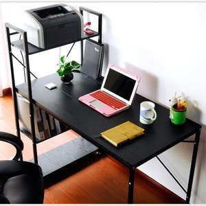 デスク パソコンデスク 幅120 ラック付き 木製 ワークデスク オフィスデスク PCデスク デスク 省スペースの写真
