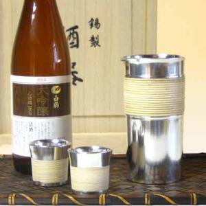 大阪錫器 籐巻き酒瓶セット|myhome