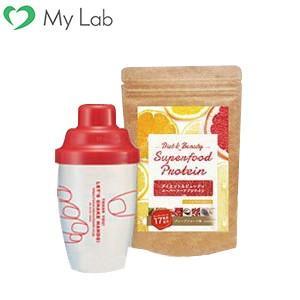 Diet&Beauty スーパーフードプロテイン スターターキット 大豆プロテイン(ソイ)シェイカー 女性用 ダイエット食品|mylab