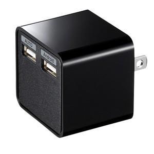 USB充電器 2ポート自動判別機能対応ポート搭載  ブラック|myoffice