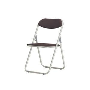 アルミ折り畳みイス 左右連結機能付きのシンプルなパイプ椅子(ブラウン)|myoffice