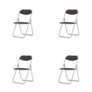 アルミ折り畳みイス4脚セット 左右連結機能付きのシンプルなパイプ椅子(ブラウン)4脚セット|myoffice