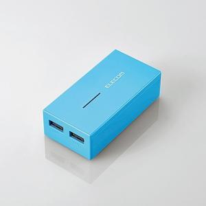 スマートフォン・タブレット用モバイルバッテリー まとめて充電対応 6000mAh 3A ブルー|myoffice