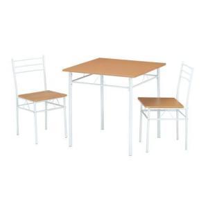ダイニング3点セット ホワイトフレームとナチュラル木目のすっきりテーブル+チェア2脚|myoffice