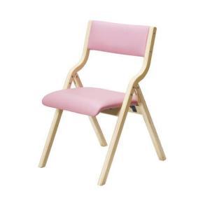 木製フレーム折り畳みホームチェア(ピンク)|myoffice