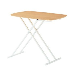 リフトテーブル 5段階高さ調節&折畳み式テーブル(ナチュラル)|myoffice